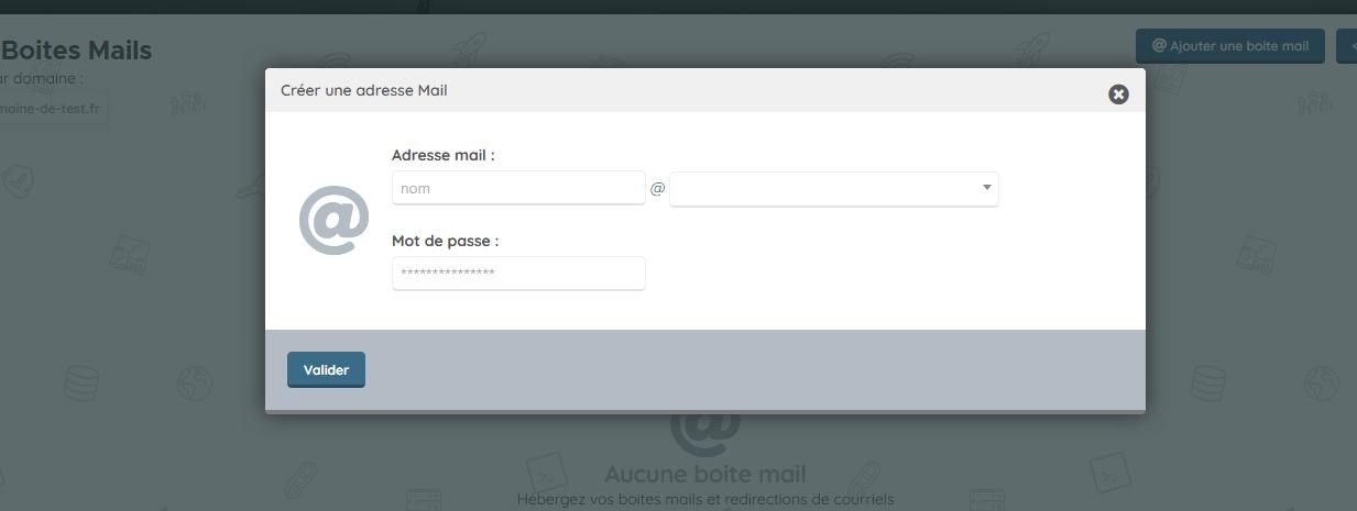 Hebergement Web - Boites mails
